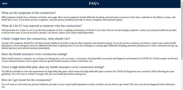 FAQ chatbots for COVID-19
