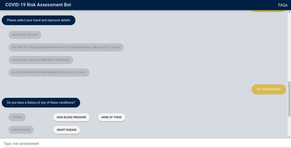 AI chatbot for COVID-19