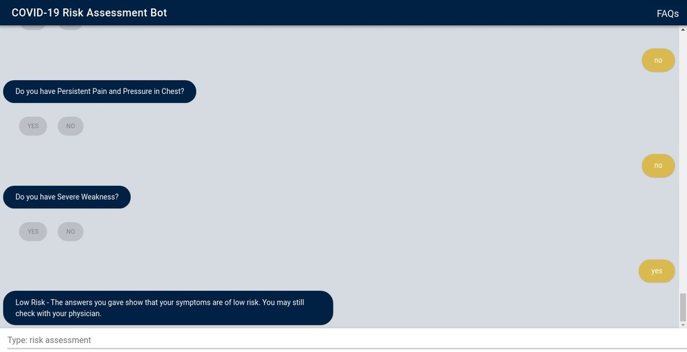risk assessment chatbot for coronavirus